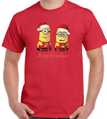 Merry Christmas Mens T Shirt Minions Graphic Design Printed Cotton ...