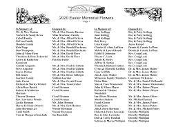 2020 Easter Memorial Flowers