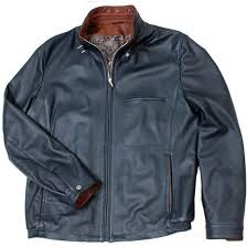 navy deerskin leather blouson jacket