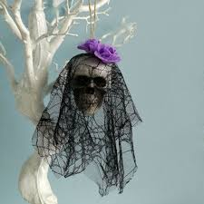 2Pcs <b>Halloween Hanging Ghost</b> With Lace Bride Skull Prop Home ...