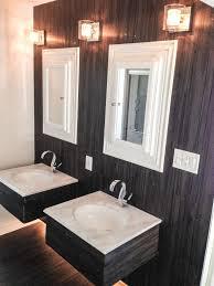 shiny vinyl flooring vinyl plank floor installed on wall bathroom double vanity dark