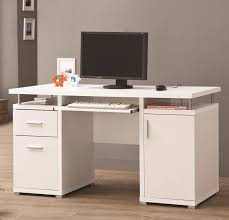captivating computer desks white wood construction pull out keyboard tray 2 drawer file storage one cabinet door bottom chrome drawer handle home office