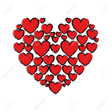 Drawing Red Hearts Love Vector Illustration Royalty Free Cliparts