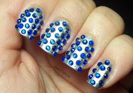 Amber did it!: Blue rhinestones nail art