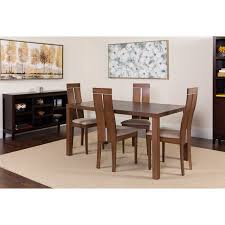 clean line furniture. Simple Furniture Flash Furniture Clarke 5 Piece Walnut Wood Dining Table Set With Clean Line  Chairs  Padded Seats Walmartcom Inside B
