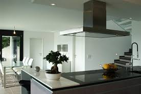 Kitchen, Gorgeous Modern Open Kitchen Design Stairs In The Nearby Black  Granite Countertop Island Behind