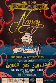 bar grand opening flyer bar nancy craft cocktail bar now serving landlubbers in little