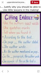 Citing Evidence Anchor Chart Citing Evidence Nf Reading Anchor Charts Writing Anchor