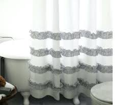 grey and white shower curtain white shower curtain with stone grey ticking stripe ruffle black and