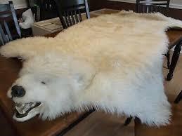 bear skin rug white polar plush head 80 x63 fake pelt faux fur