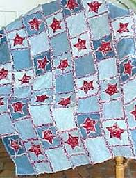 Interesting take on a rag quilt using old jeans. Would be great ... & LOTS of free rag quilt patterns and I've finally collected enough old jeans  to try this one first! Adamdwight.com