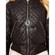 women stylish barneys brown leather jacket
