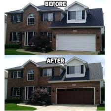garage door installation naperville il classic cherry ultra grain garage door with windows before and after