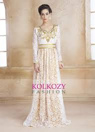 Gold Color Kaftan Arabic Evening Dress With Net Brasso And Thread Work