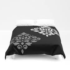 scroll damask art i black grey white duvet cover