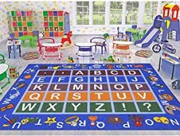 childrens area rugs. Ottomanson Jenny Collection Light Blue Frame With Multi Colors Kids Children\u0027s Educational Alphabet (Non- Childrens Area Rugs