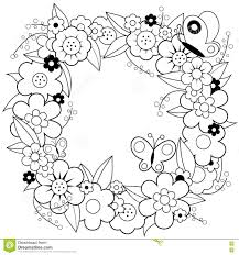 Flower Wreath Coloring Book Page Stock Vector Illustration Of