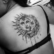 Dotwork Tattoo With Sun And Moon