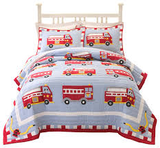 cotton fire truck quilt set with shams contemporary kids bedding
