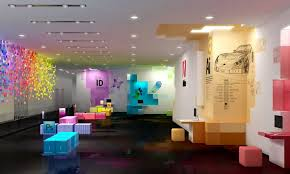 modern office interiors. Playful Modern Office Interiors With Colorful Wall Design And Industrial Interior I