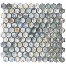 shimmering silver grey glass hexagon