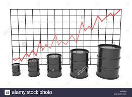 3d Illustration Black Barrels Of Oil Graph Chart Stock