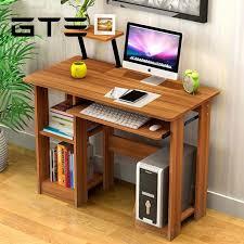 unique computer desk design. GTE Modern Design Eco-friendly Furniture Computer Table Study Shelf Wooden Desk - Dark Brown Malaysia Unique B