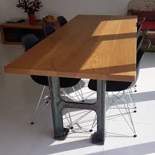 industrial furniture table. Vintage Industrial Furniture, A Beautiful 45mm Thick Solid Light Oak Top @ 2100mm X 900mm On Pair Of Heavy Original Reclaimed Cast Iron Legs. Furniture Table