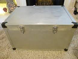 The cane flightcase is a great storage solution and a stylish side table in one. Vintage Silver Trunk Chest Scandinavian Coffee Table Urban Storage Flight Case Ebay