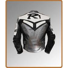 yamaha leather jacket. yamaha r1 grey motorcycle racing jacket leather