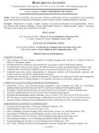 Early Childhood Education Resume Template Resume Template For Early