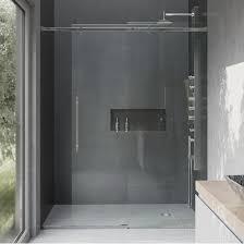 luca frameless glass shower door with metal hardware by vigo kitchensource com
