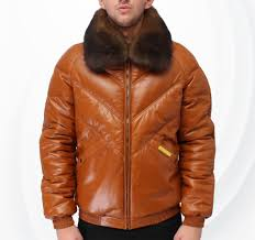 mens v er lambskin leather jacket with fox fur collar