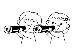 恵方巻を食べる子供達の白黒イラスト かわいい無料の白黒イラスト モノ