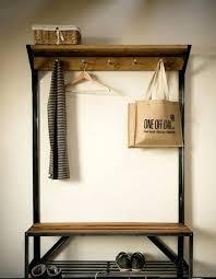 wood hall tree coat rack storage bench with modern
