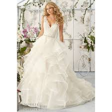 organza wedding gowns. Stunning A line Wedding Dresses with V Neck Appliqued Lace Ivory