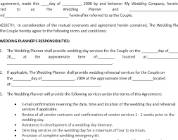 event agreement contract wedding amazing wedding planner contract 7 best images of