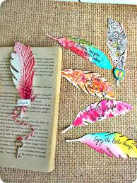 Cool Bookmark Designs To Make Feather Bookmark Ideas Bookmarks Handmade Creative