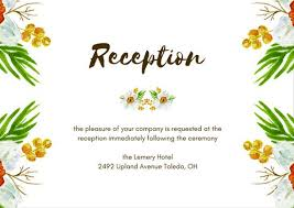 Wedding Ceremony Card Cream Yellow Flowers Wedding Reception Card Templates By Canva