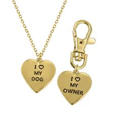 i 3 love my dog owner best friends f pendant necklace matching tag collar keychain