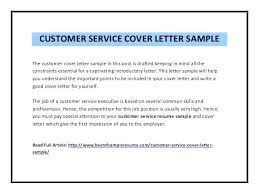 Cover Letter For A Customer Service Job Sample Cover Letters For Customer Service Representative
