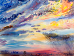 watercolor painting landscape colorful of rain cloud meadow cornfield stock ilration ilration of