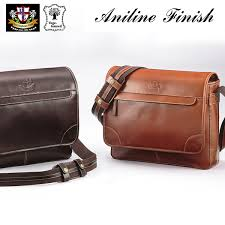 aniline buffalo leather messenger bag
