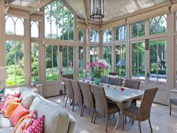Dining Room:Attractice Sunroom Dining Room With Long White Dining Table And  Wicker Dining Chairs