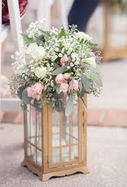 White, Ivory and Light Pink Centerpiece Flowers in Gold Lantern | White and  Ivory Wedding