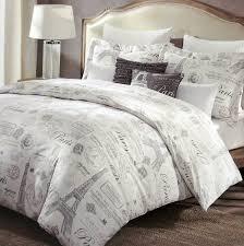 com paris french vintage duvet quilt cover by designer cynthia rowley 3 piece set grey tan eiffel script parisian theme on white queen home
