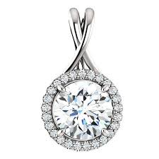 8mm forever one moissanite diamond pendant
