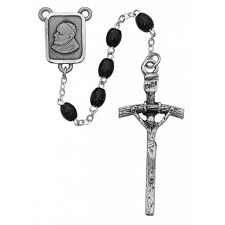 black wood rosary with papal crucifix and center