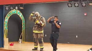 sparky the fire dog robot. consists of the san benito fire department personnel, sparky dog, and patches \u0026 pumper robot. also uses promotional material dog robot