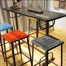 wood and wrought iron furniture. Bar Furniture Loft Retro Stool Wood Wrought Iron Chairs Leisure Pertaining To Elegant Property High Table And U
